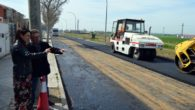 Pilar Zamora visita las obras de rehabilitación del pavimento que se están realizando en la calle Oretana